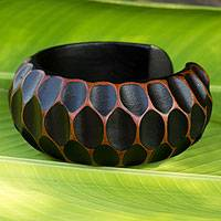 Wood cuff bracelet, 'Orange Honeycomb' - Mango Wood Cuff Bracelet Handcrafted Thai Jewelry