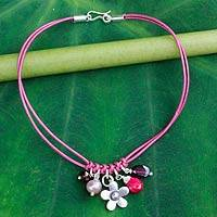 Garnet and cultured pearl charm bracelet, 'Hill Tribe Frangipani' - Fair Trade Leather Bracelet with Multi Gem Charms