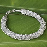 Silver beaded bracelet, 'Karen Starlight' - Fine Silver Beaded Bracelet