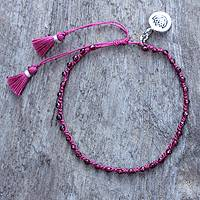 Garnet beaded bracelet, 'Lovely Lotus' - Hand-knotted Garnet Beaded Bracelet with Silver charm