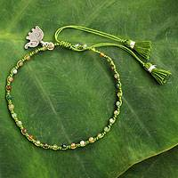 Jasper beaded bracelet, 'Sweet Elephant' - Hand-knotted Jasper Beaded Bracelet with Silver charm