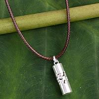 Men's sterling silver necklace, 'Thai Art'