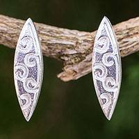 Sterling silver drop earrings, 'Dancing' - Fair Trade Artisan Crafted Sterling Silver Earrings