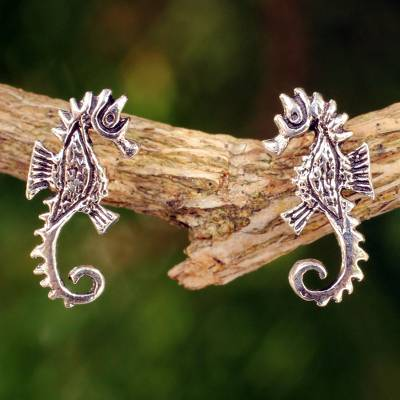 Sterling silver button earrings, 'Seahorse' - Seahorse Sterling Silver Earrings