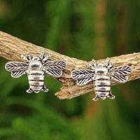 Sterling silver button earrings, 'Happy Honeybee' - Honeybee Sterling Silver Button Earrings