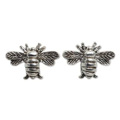 Unique Bee Sterling Silver Stud Earring Novica