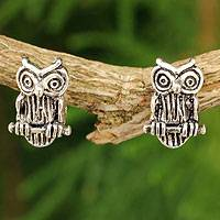 Sterling silver button earrings, 'Wise Little Owl' - Silver Bird Theme Earrings
