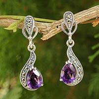 Amethyst and marcasite dangle earrings,