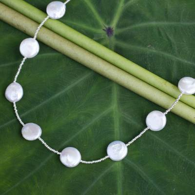 Cultured pearl station necklace, 'Mystic Moons' - Artisan Crafted Cultured Pearl Necklace