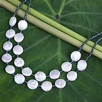 Cultured pearl statement necklace, 'Lunar Horizon' - White and Gray Pearl Handcrafted Necklace