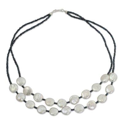 White and Gray Pearl Handcrafted Necklace