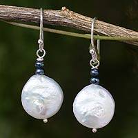 Cultured pearl dangle earrings, 'Lunar Horizon' - White and Gray Pearl Handcrafted Earrings
