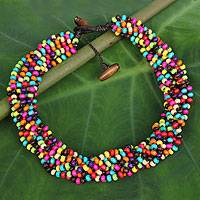 Wood torsade necklace, 'Trang Belle' - Torsade Necklace- 10 Strands of Multi-Colored Wood Beads wit