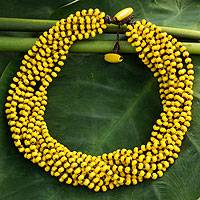 Wood torsade necklace, 'Phrae Belle' - Wood Beaded Jewelry Yellow Torsade Necklace