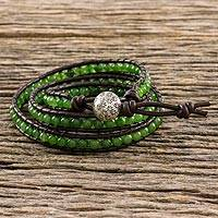 Quartz wrap bracelet, 'Thai Fields' - Green Quartz Wrap Bracelet with Silver Hill Tribe Button