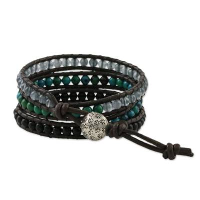 Thai Handcrafted Multi Gemstone and Silver Wrap Bracelet