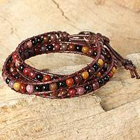 Mookaite jasper and onyx wrap bracelet, 'Rhythm of the Season' - Thai Handcrafted Mookaite Onyx and Silver Wrap Bracelet