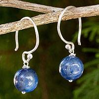 Kyanite dangle earrings, 'Mystical Me' - Handmade Kyanite and Sterling Silver Earrings