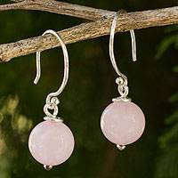 Rose quartz dangle earrings, 'Mystical Me' - Handmade Rose Quartz and Sterling Silver Earrings