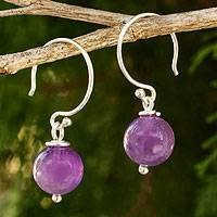 Amethyst dangle earrings, 'Mystical Me' - Handmade Amethyst and Sterling Silver Earrings