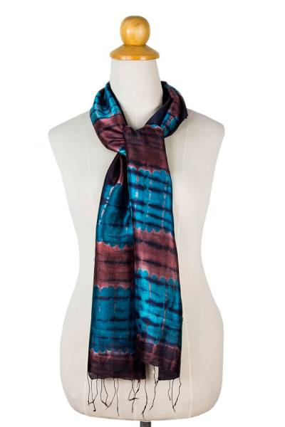 Silk scarf, 'Blue Thai Sky' - Unique Tie Dyed Silk Scarf
