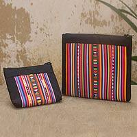 Cotton blend cosmetic bags, 'Lisu Rainbow' (pair) - Cotton Blend Cosmetic Bags with Hill Tribe Applique (pair)