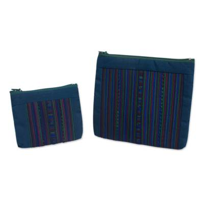 Cotton blend cosmetic bags, 'Lisu Rainforest' (pair) - Cotton Blend Cosmetic Bags with Hill Tribe Applique (pair)