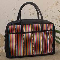 Cotton blend bowling handbag, 'Modern Lisu Legacy' - Colorful Hill Tribe Appliqué on Cotton Blend Handbag