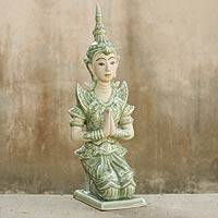 Celadon ceramic sculpture, 'Divine Guardian' - Celadon Ceramic Sculpture of Spiritual Thai Guardian