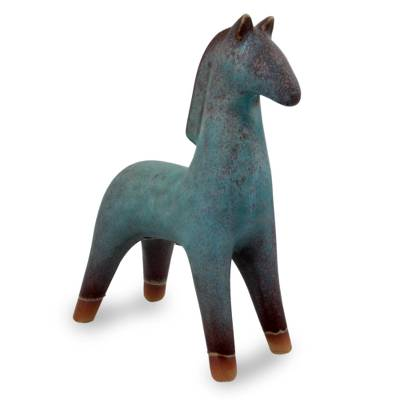 Ceramic sculpture, 'Lanna Horse' - Turquoise Blue and Brown Handcrafted Ceramic Sculpture