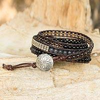Quartz and onyx wrap bracelet, 'Exotic Earth' - Quartz and Onyx Wrap Bracelet with Hill Tribe Silver