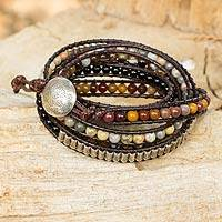 Multi-gemstone wrap bracelet, 'Earth Celebration' - Quartz and  Wrap Bracelet with Hill Tribe Silver