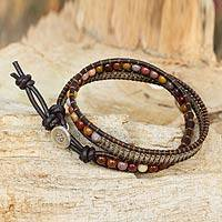 Jasper wrap bracelet, 'Glowing Earth' - Hand Made Jasper Wrap Bracelet with Hill Tribe Silver