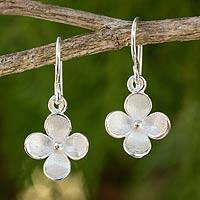 Sterling silver flower earrings, 'Lucky Blooms'