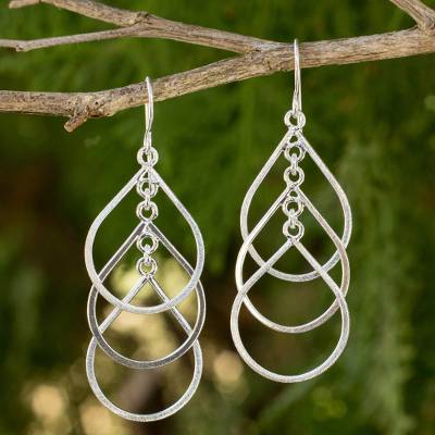 Sterling silver dangle earrings, 'Perpetual Cascade' - Handcrafted Sterling Silver Earrings