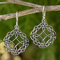 Sterling silver dangle earrings, 'Celtic Siam' - Handcrafted Sterling Silver Hook Earrings