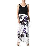 Cotton batik sarong, 'Tropical Cattleya' - Hand-painted Cotton Batik Sarong
