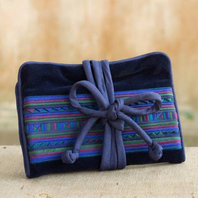 Applique jewelry roll, 'Lisu Lines in Blue' - Artisan Crafted Hill Tribe Applique Jewelry Roll