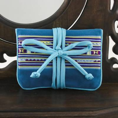 Applique jewelry roll, 'Lisu Sky Fantasy' - Artisan Crafted Hill Tribe Applique Jewelry Roll