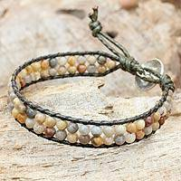 Jasper wristband bracelet, 'Two in Love' - Thai Jasper Beaded Wristband