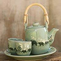 Celadon ceramic tea set 'Elephant Parade' (set for 2) - Thai Celadon Elephant Theme Tea Set for Two