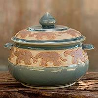 Celadon ceramic covered bowl, 'Blue Elephant Walk' - Handcrafted Blue Thai Celadon Covered Bowl