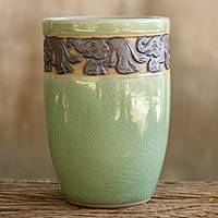 Celadon ceramic teacup, 'Elephant Parade' - Celadon Ceramic Elephant Handleless Teacup from Thailand