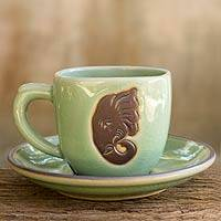 Celadon ceramic cup and saucer, 'Green Thai Elephant' - Green Celadon Elephant Cup and Saucer Set from Thailand