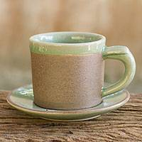 Celadon ceramic demitasse cup and saucer, 'Espresso' - Green Celadon Elephant Demitasse and Saucer Set