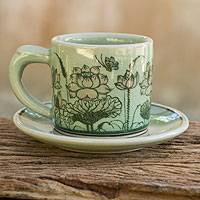 Celadon ceramic demitasse cup and saucer, 'Pink Lotus Butterflies' - Thai Celadon Espresso Cup and Saucer Set