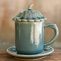 Celadon ceramic covered cup and saucer, 'Blue Lotus Leaf' - Blue Celadon Ceramic Covered Cup and Saucer from Thailand