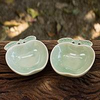 Celadon condiment dishes, 'Green Apple' (pair) - Green Celadon Condiment Dishes from Thailand (pair)