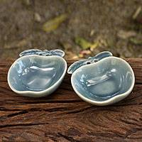 Celadon condiment dishes, 'Blue Apple' (pair) - Blue Celadon Condiment Dish Pair from Thailand