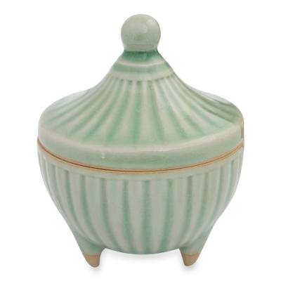 Handcrafted Green Thai Celadon Jar and Lid
